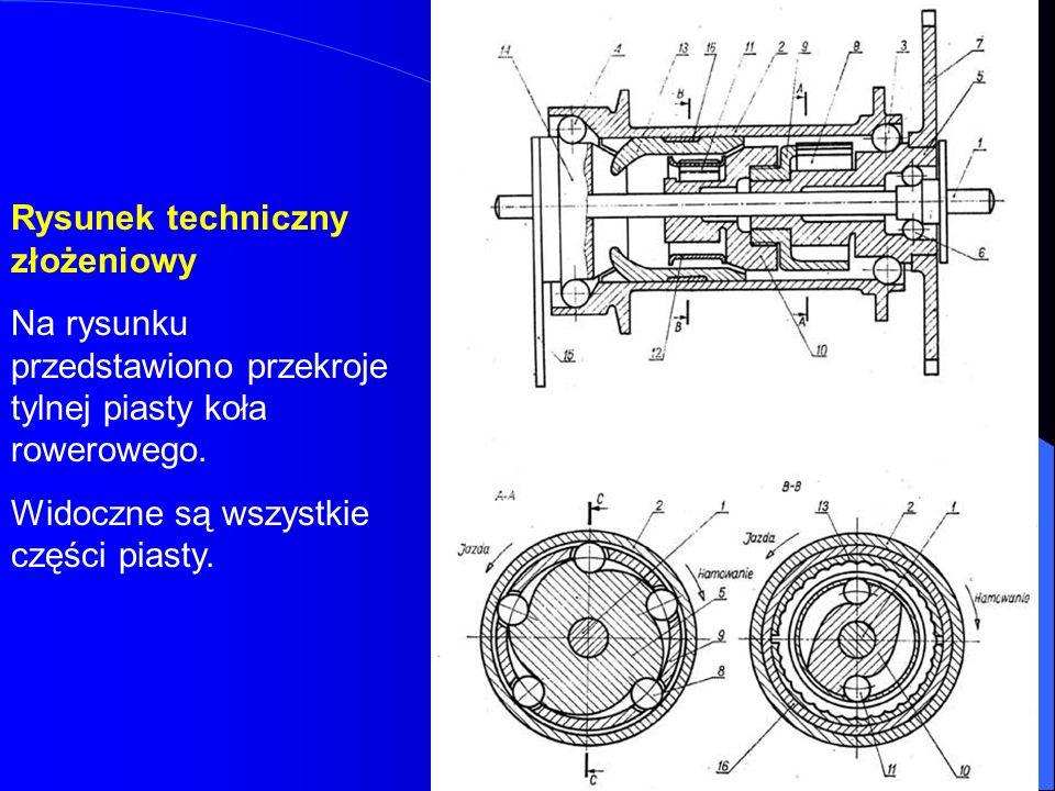 Rysunek techniczny złożeniowy Na rysunku przedstawiono przekroje tylnej piasty koła rowerowego. Widoczne są wszystkie części piasty.