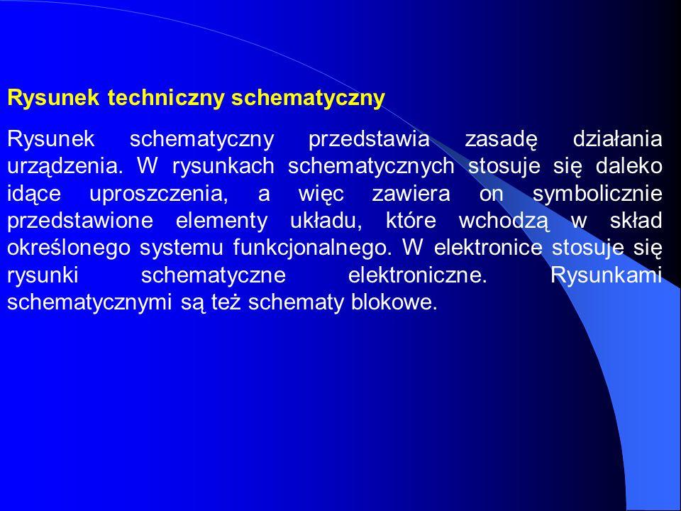 Rysunek techniczny schematyczny Rysunek schematyczny przedstawia zasadę działania urządzenia. W rysunkach schematycznych stosuje się daleko idące upro