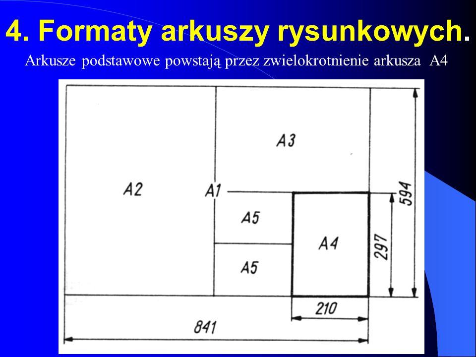 4. Formaty arkuszy rysunkowych. Arkusze podstawowe powstają przez zwielokrotnienie arkusza A4
