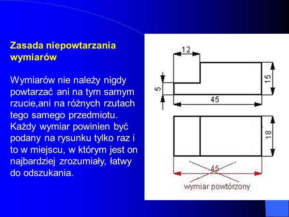 Zasada niepowtarzania wymiarów Wymiarów nie należy nigdy powtarzać ani na tym samym rzucie,ani na różnych rzutach tego samego przedmiotu. Każdy wymiar
