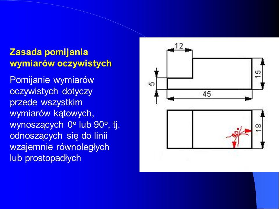 Zasada pomijania wymiarów oczywistych Pomijanie wymiarów oczywistych dotyczy przede wszystkim wymiarów kątowych, wynoszących 0 o lub 90 o, tj. odnoszą