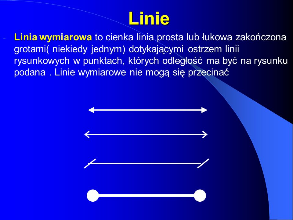 Linie Linie - Linia wymiarowa to cienka linia prosta lub łukowa zakończona grotami( niekiedy jednym) dotykającymi ostrzem linii rysunkowych w punktach