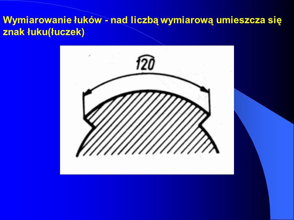 Wymiarowanie łuków - nad liczbą wymiarową umieszcza się znak łuku(łuczek)