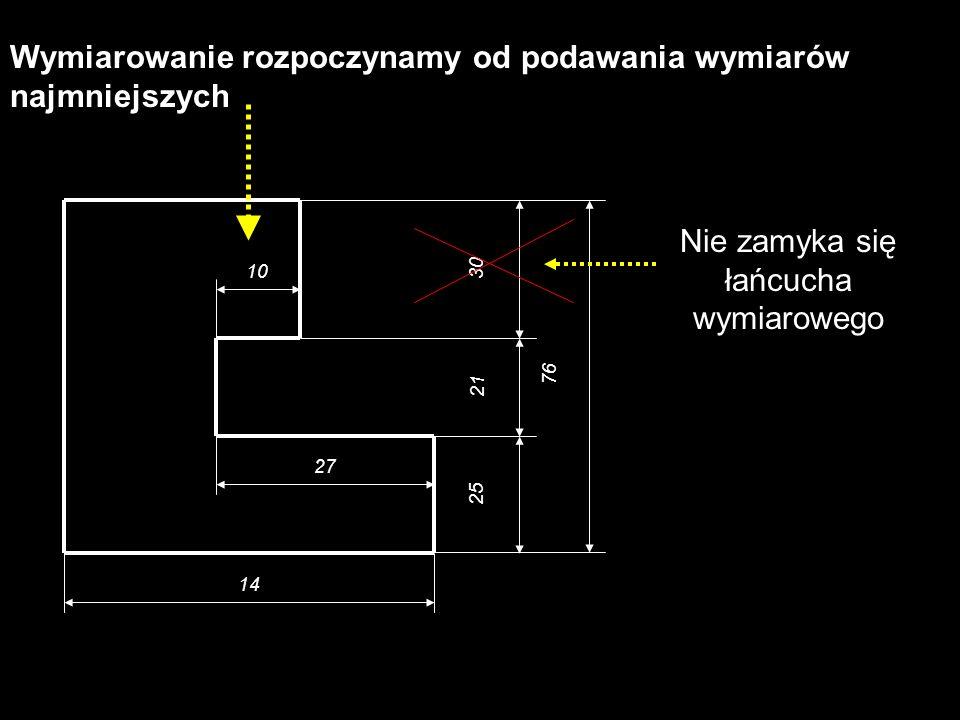 10 27 14 25 21 30 76 Wymiarowanie rozpoczynamy od podawania wymiarów najmniejszych Nie zamyka się łańcucha wymiarowego