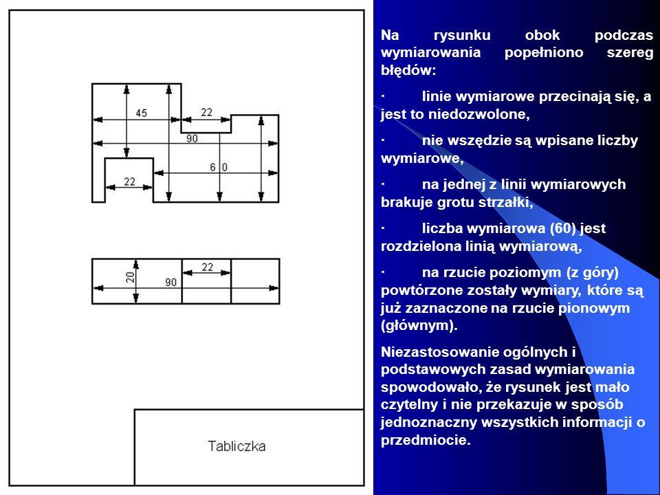 Na rysunku obok podczas wymiarowania popełniono szereg błędów: · linie wymiarowe przecinają się, a jest to niedozwolone, · nie wszędzie są wpisane lic