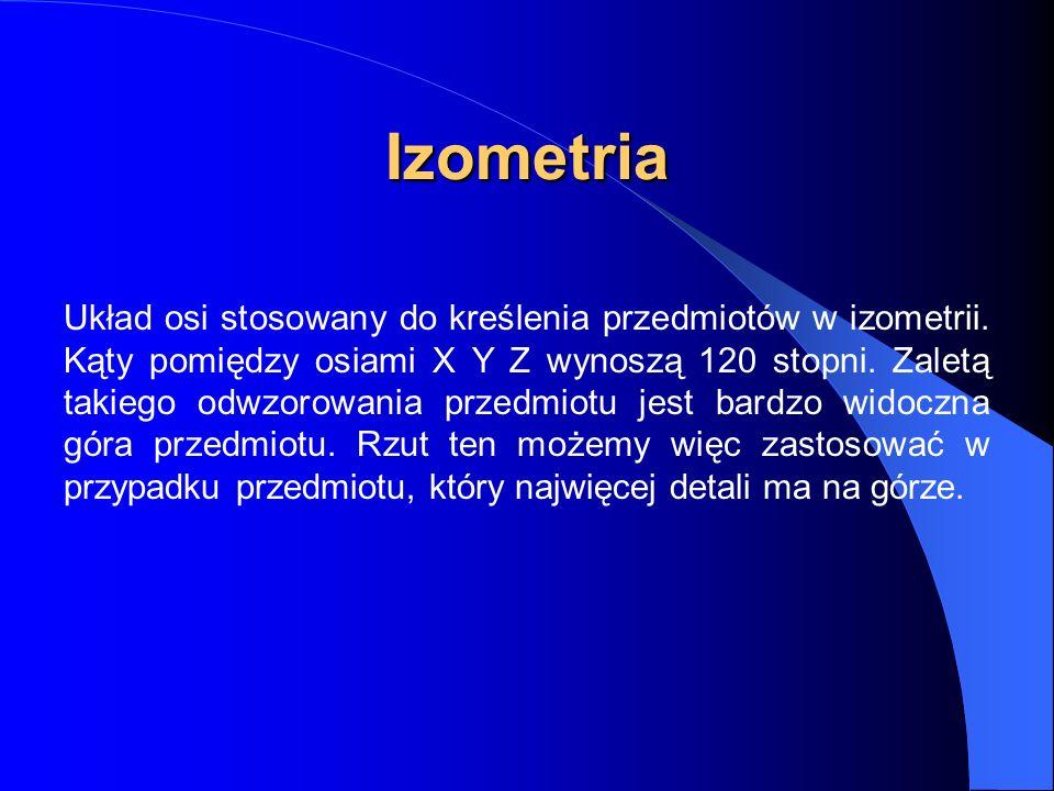 Układ osi stosowany do kreślenia przedmiotów w izometrii. Kąty pomiędzy osiami X Y Z wynoszą 120 stopni. Zaletą takiego odwzorowania przedmiotu jest b
