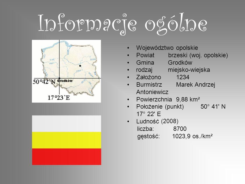 Informacje ogólne Województwoopolskie Powiat brzeski (woj. opolskie) Gmina Grodków rodzaj miejsko-wiejska Założono1234 BurmistrzMarek Andrzej Antoniew