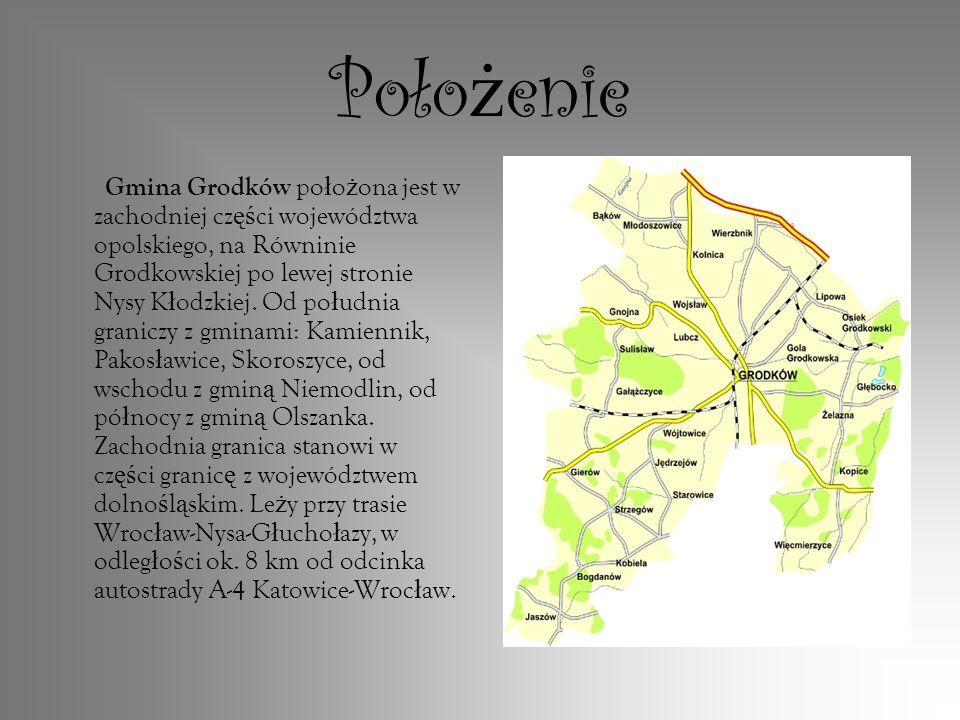 Poło ż enie Gmina Grodków po ł o ż ona jest w zachodniej cz ęś ci województwa opolskiego, na Równinie Grodkowskiej po lewej stronie Nysy K ł odzkiej.