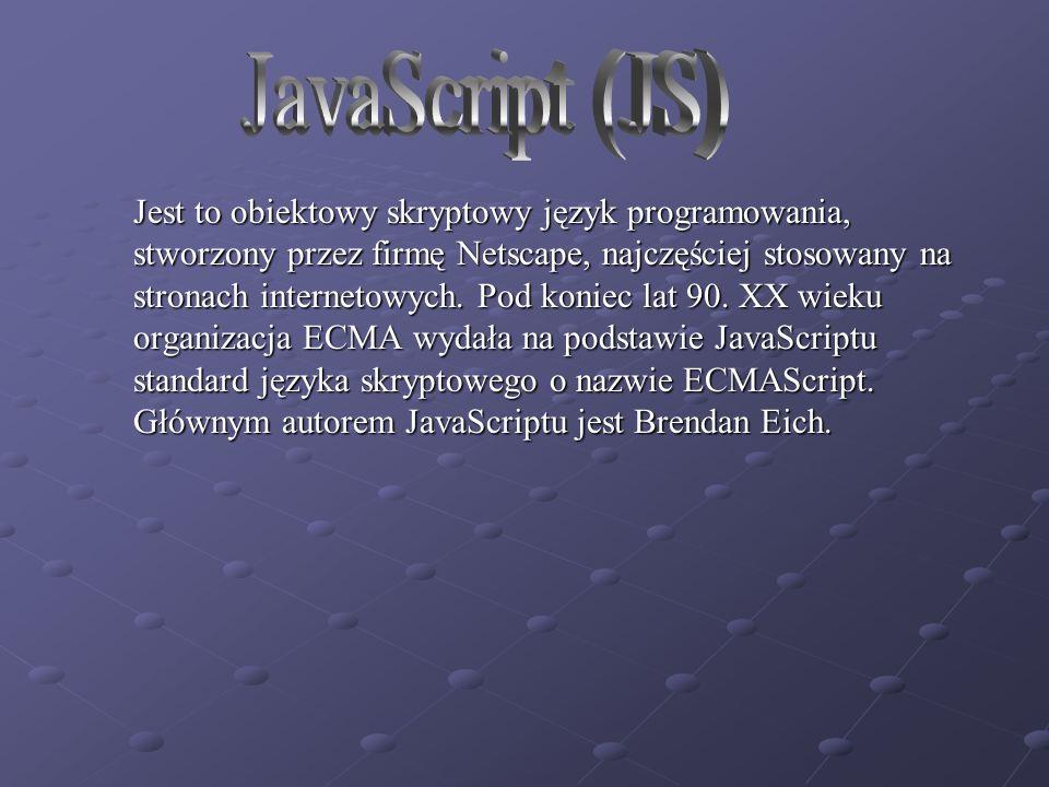 Jest to obiektowy skryptowy język programowania, stworzony przez firmę Netscape, najczęściej stosowany na stronach internetowych.