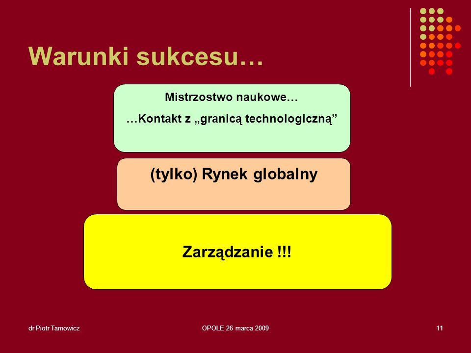 dr Piotr TamowiczOPOLE 26 marca 200912 IFOTAM (-) Zbyt słabi udziałowcy.