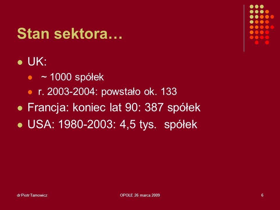 dr Piotr TamowiczOPOLE 26 marca 20097 Stan sektora… …Polska Brak statystyk krajowych Brak usystematyzowanych badań Niechęć do ujawniania się… (ostracyzm środowiska?) <100?