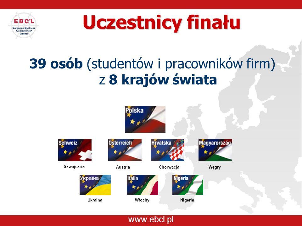 www.ebcl.pl Uczestnicy finału 39 osób (studentów i pracowników firm) z 8 krajów świata Austria Włochy Węgry Szwajcaria Chorwacja NigeriaUkraina