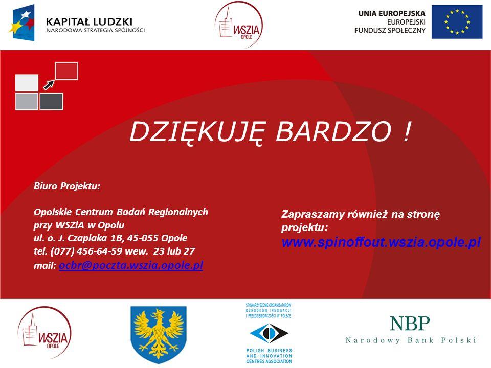 DZIĘKUJĘ BARDZO ! Biuro Projektu: Opolskie Centrum Badań Regionalnych przy WSZiA w Opolu ul. o. J. Czaplaka 1B, 45-055 Opole tel. (077) 456-64-59 wew.