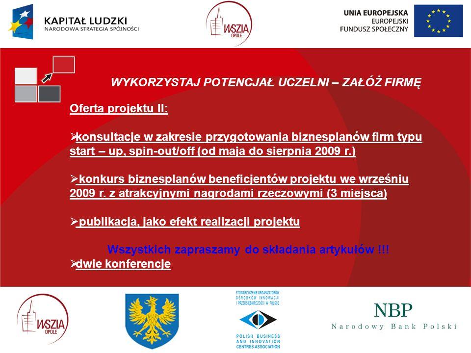 WYKORZYSTAJ POTENCJAŁ UCZELNI – ZAŁÓŻ FIRMĘ Oferta projektu II: konsultacje w zakresie przygotowania biznesplanów firm typu start – up, spin-out/off (