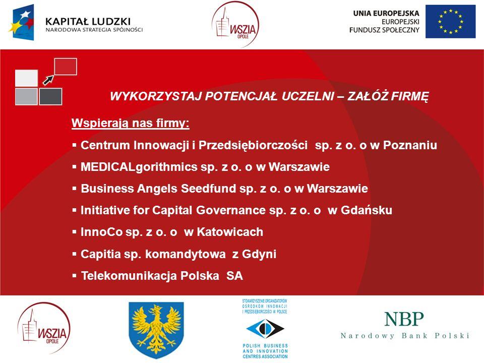 WYKORZYSTAJ POTENCJAŁ UCZELNI – ZAŁÓŻ FIRMĘ Wspierają nas firmy: Centrum Innowacji i Przedsiębiorczości sp. z o. o w Poznaniu MEDICALgorithmics sp. z