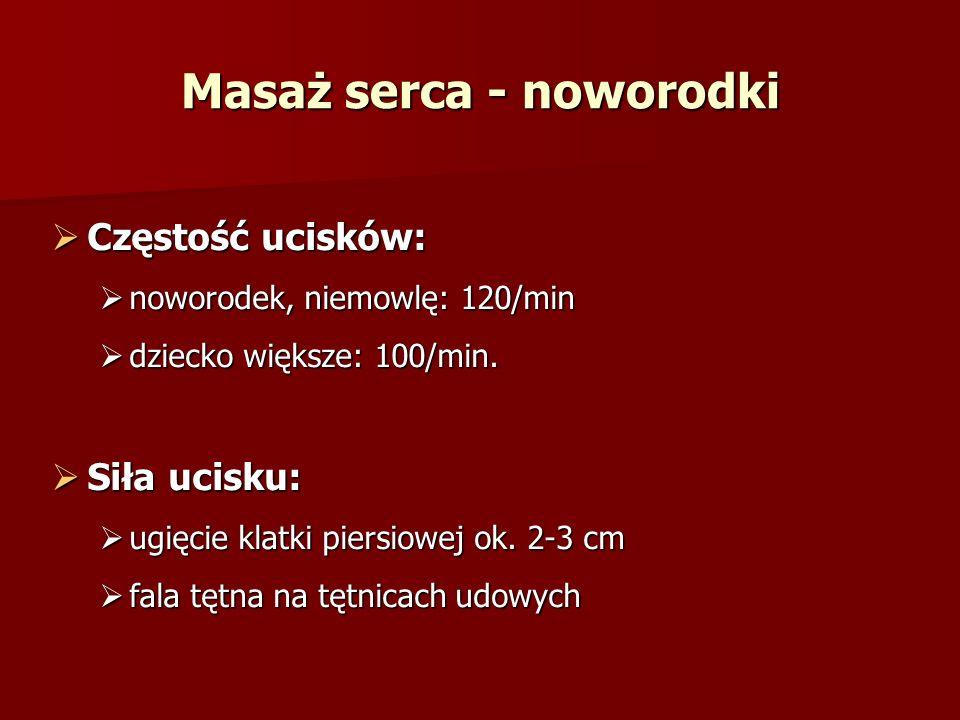 Częstość ucisków: Częstość ucisków: noworodek, niemowlę: 120/min noworodek, niemowlę: 120/min dziecko większe: 100/min.