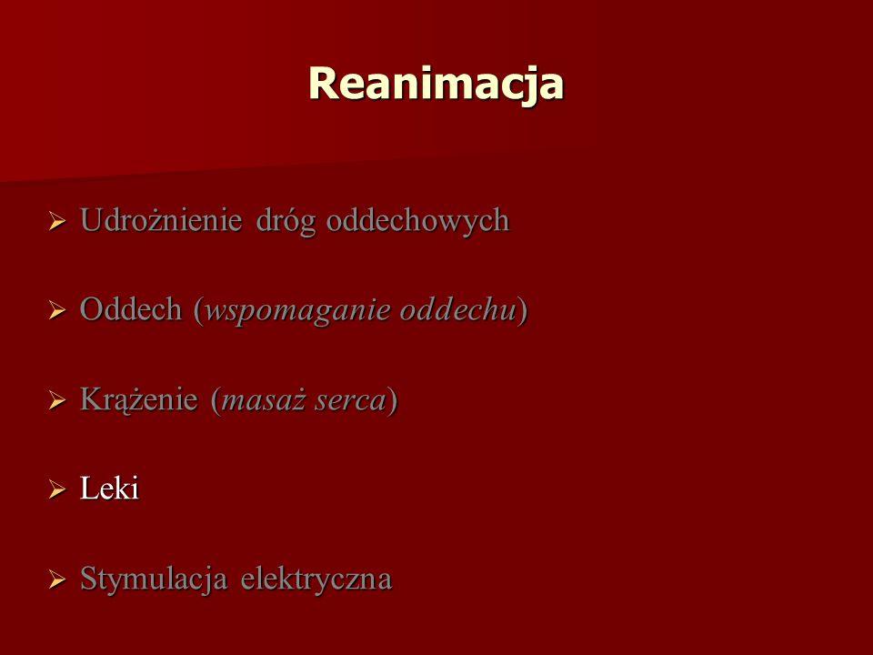 Reanimacja Udrożnienie dróg oddechowych Udrożnienie dróg oddechowych Oddech (wspomaganie oddechu) Oddech (wspomaganie oddechu) Krążenie (masaż serca) Krążenie (masaż serca) Leki Leki Stymulacja elektryczna Stymulacja elektryczna