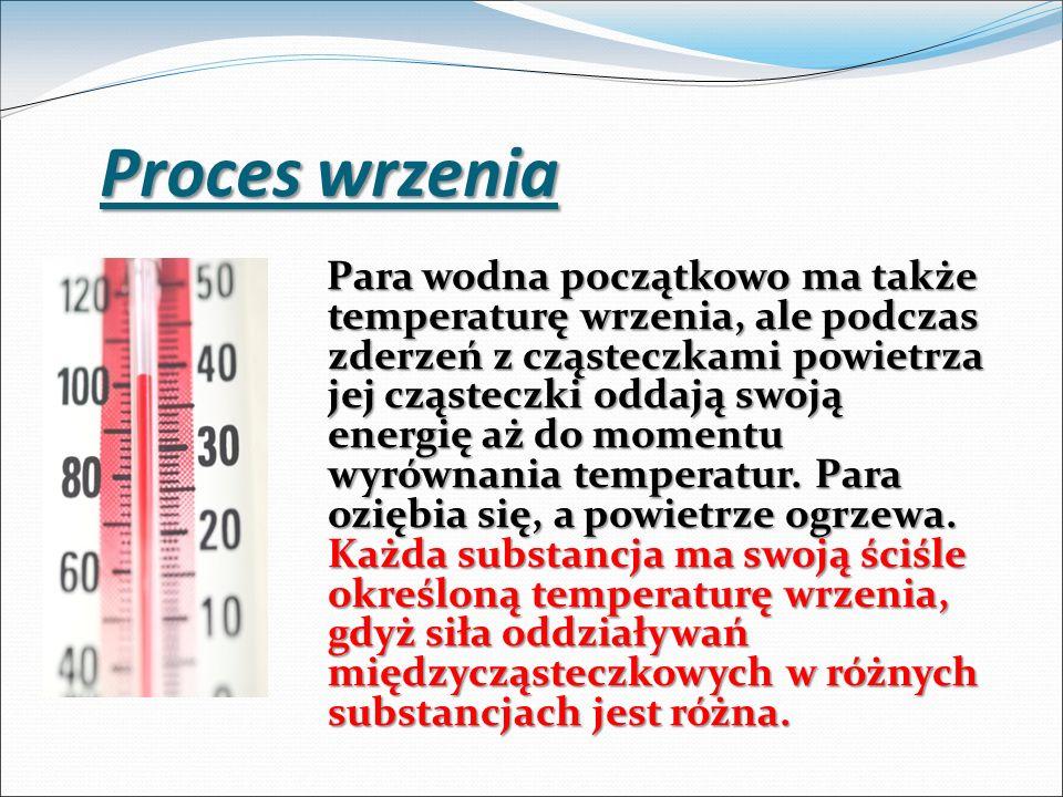 Para wodna początkowo ma także temperaturę wrzenia, ale podczas zderzeń z cząsteczkami powietrza jej cząsteczki oddają swoją energię aż do momentu wyr