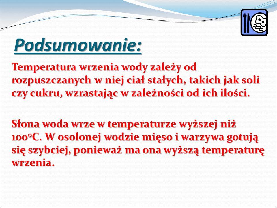 Podsumowanie: Temperatura wrzenia wody zależy od rozpuszczanych w niej ciał stałych, takich jak soli czy cukru, wzrastając w zależności od ich ilości.