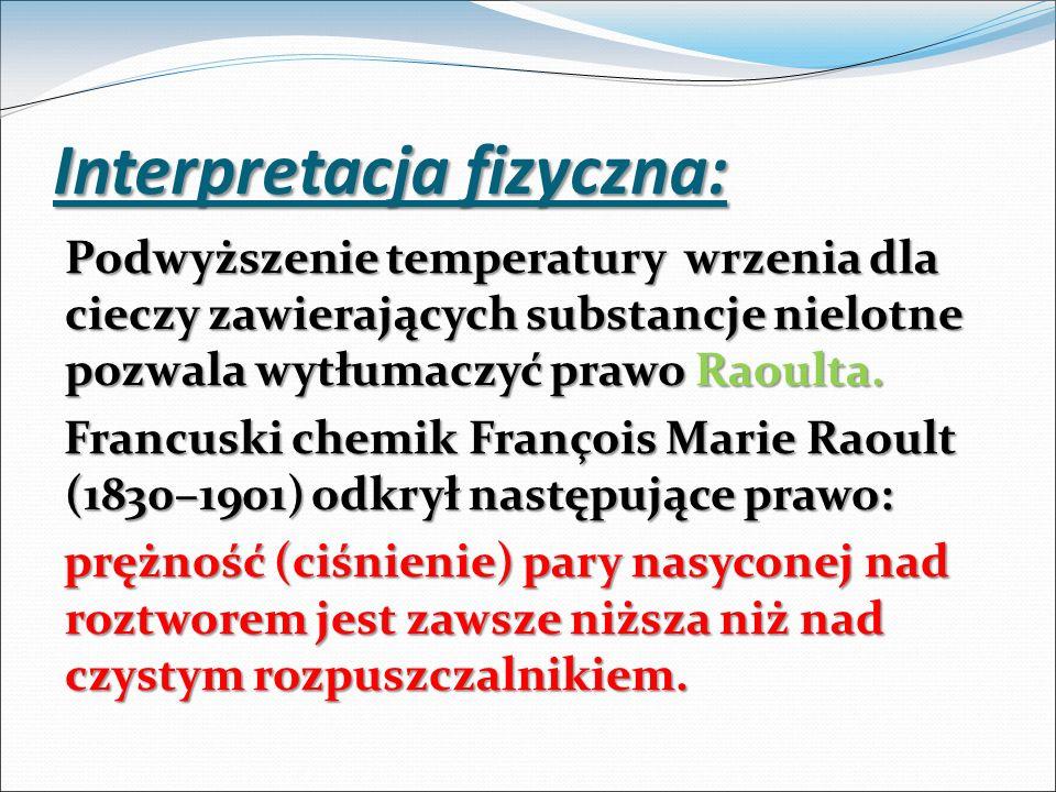 Interpretacja fizyczna: Podwyższenie temperatury wrzenia dla cieczy zawierających substancje nielotne pozwala wytłumaczyć prawo Raoulta. Francuski che