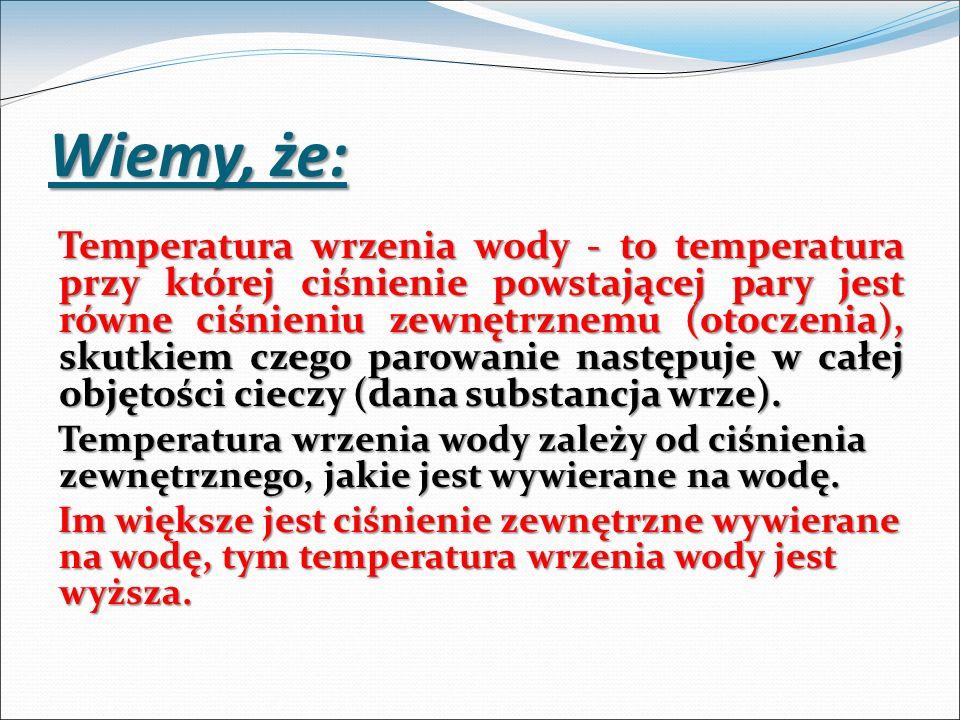 Wiemy, że: Temperatura wrzenia wody - to temperatura przy której ciśnienie powstającej pary jest równe ciśnieniu zewnętrznemu (otoczenia), skutkiem cz