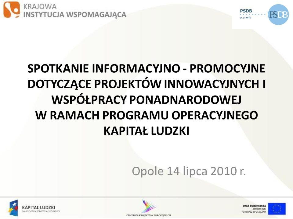 PROJEKTY INOWACYJNE W WOJEWÓDZTWIE OPOLSKIM Priorytet IX Rozwój wykształcenia i kompetencji w regionach, temat: Modernizacja oferty kształcenia zawodowego w powiązaniu z potrzebami lokalnego/regionalnego rynku pracy.