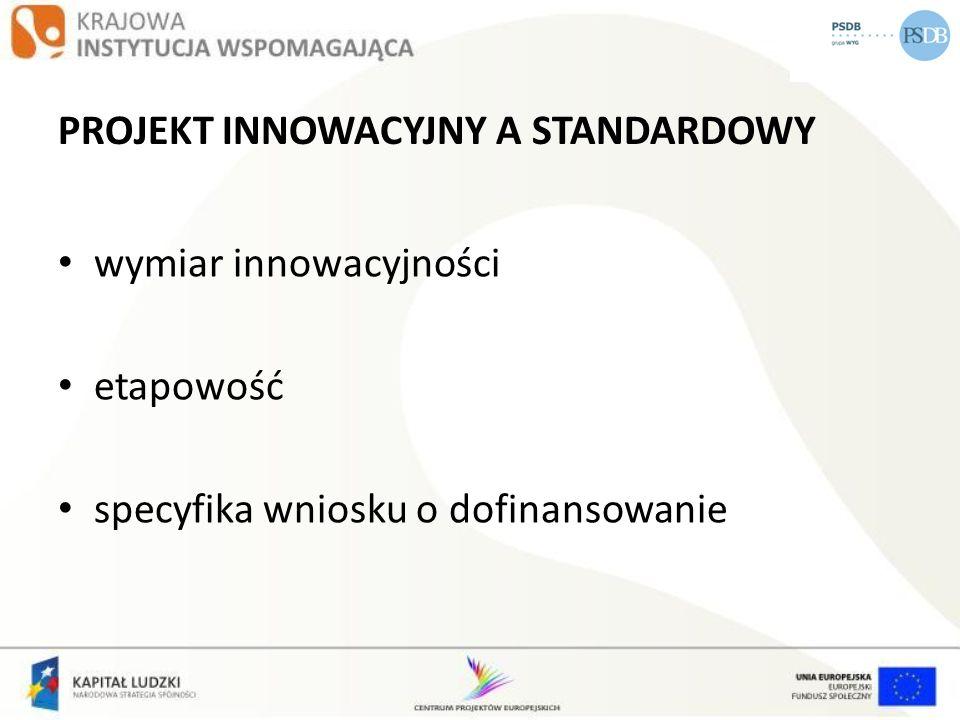 PROJEKT INNOWACYJNY A STANDARDOWY wymiar innowacyjności etapowość specyfika wniosku o dofinansowanie
