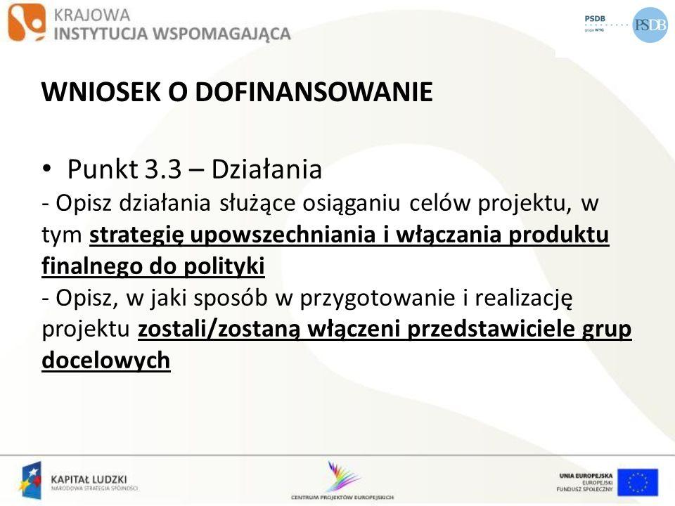 WNIOSEK O DOFINANSOWANIE Punkt 3.3 – Działania - Opisz działania służące osiąganiu celów projektu, w tym strategię upowszechniania i włączania produkt