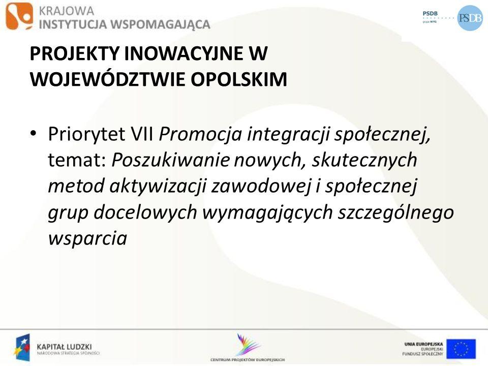 PROJEKTY INOWACYJNE W WOJEWÓDZTWIE OPOLSKIM Priorytet VII Promocja integracji społecznej, temat: Poszukiwanie nowych, skutecznych metod aktywizacji za
