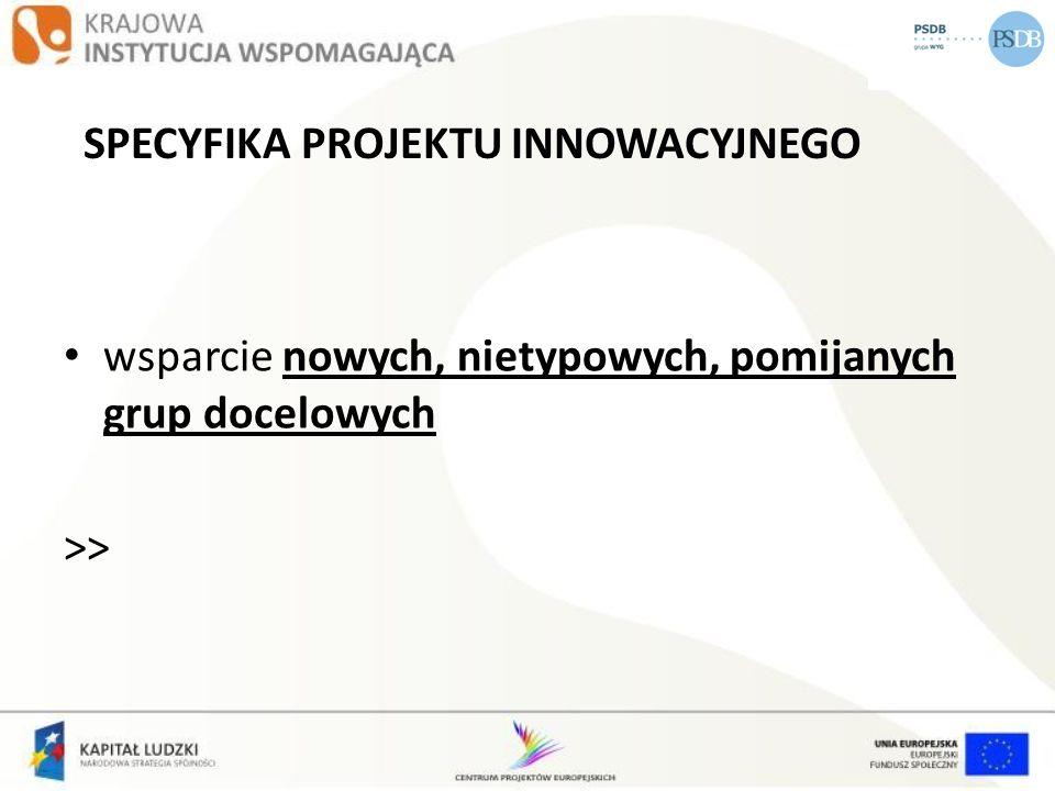 PROJEKTY INOWACYJNE W WOJEWÓDZTWIE OPOLSKIM KRYTERIA DOSTĘPU Grupę docelową w projekcie stanowią osoby opuszczające placówki opiekuńczo-wychowawcze zamieszkujące (w rozumieniu Kodeksu Cywilnego) na terenie województwa opolskiego oraz podmioty posiadające siedzibę/oddział na terenie województwa opolskiego.