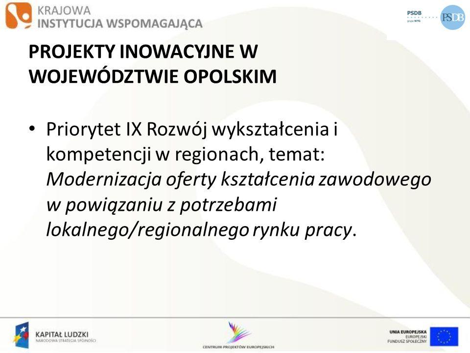 PROJEKTY INOWACYJNE W WOJEWÓDZTWIE OPOLSKIM Priorytet IX Rozwój wykształcenia i kompetencji w regionach, temat: Modernizacja oferty kształcenia zawodo
