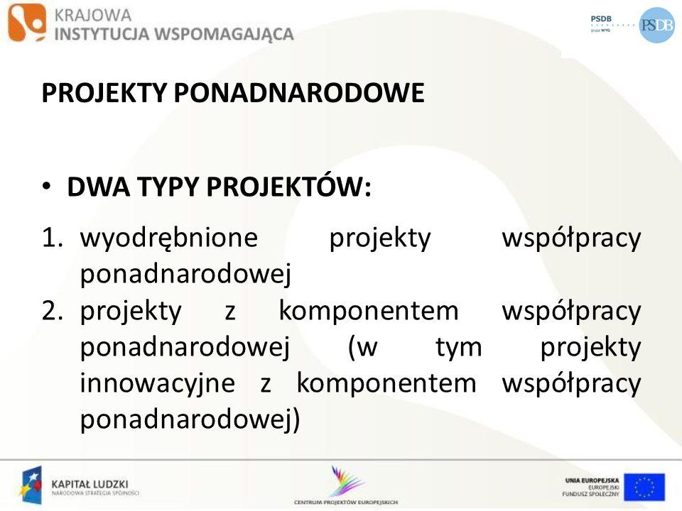 PROJEKTY PONADNARODOWE DWA TYPY PROJEKTÓW: 1.wyodrębnione projekty współpracy ponadnarodowej 2.projekty z komponentem współpracy ponadnarodowej (w tym