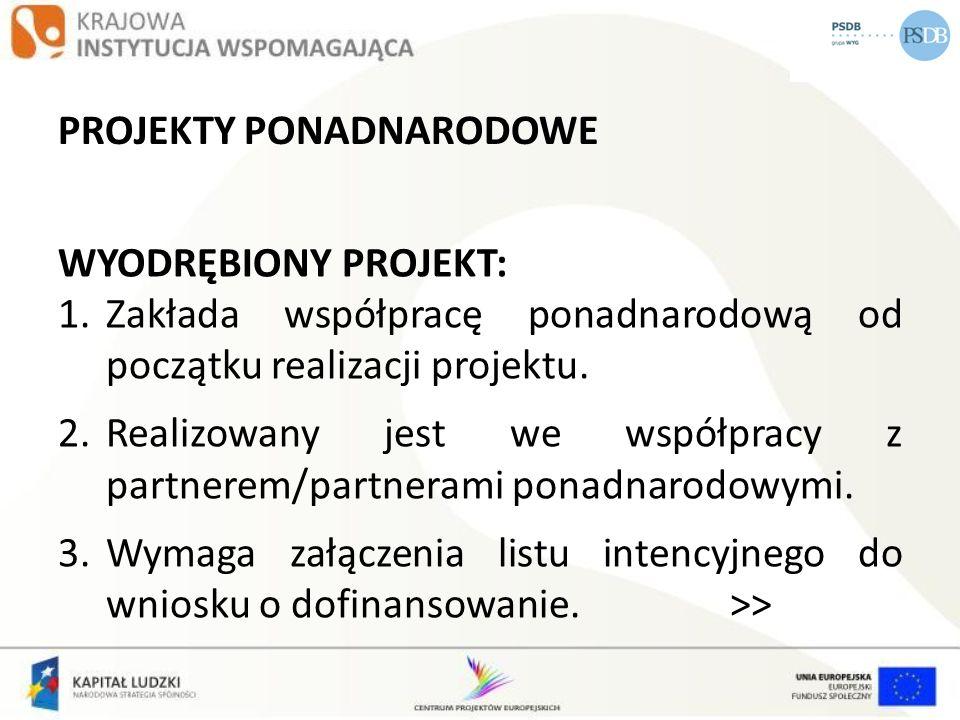 PROJEKTY PONADNARODOWE WYODRĘBIONY PROJEKT: 1.Zakłada współpracę ponadnarodową od początku realizacji projektu. 2.Realizowany jest we współpracy z par