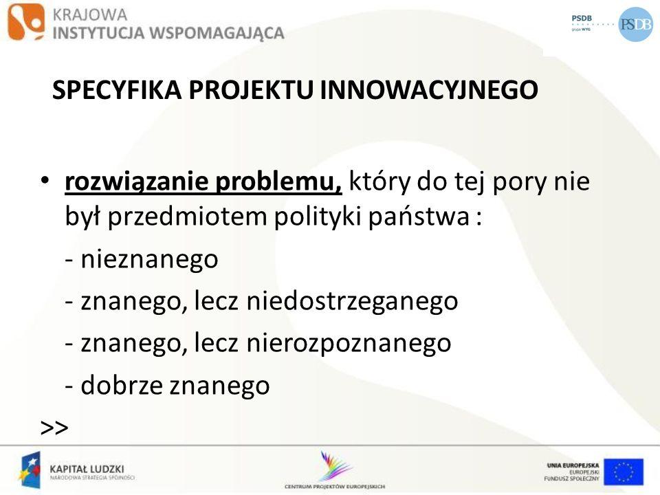 ETAPOWOŚĆ ETAP I -diagnoza i analiza problemu -tworzenie partnerstwa (jeżeli jest przewidziane) -opracowanie wstępnej wersji produktu oraz strategii wdrażania projektu innowacyjnego