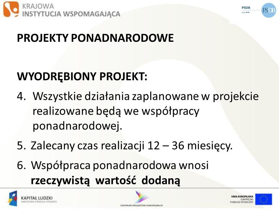 PROJEKTY PONADNARODOWE WYODRĘBIONY PROJEKT: 4.Wszystkie działania zaplanowane w projekcie realizowane będą we współpracy ponadnarodowej. 5.Zalecany cz