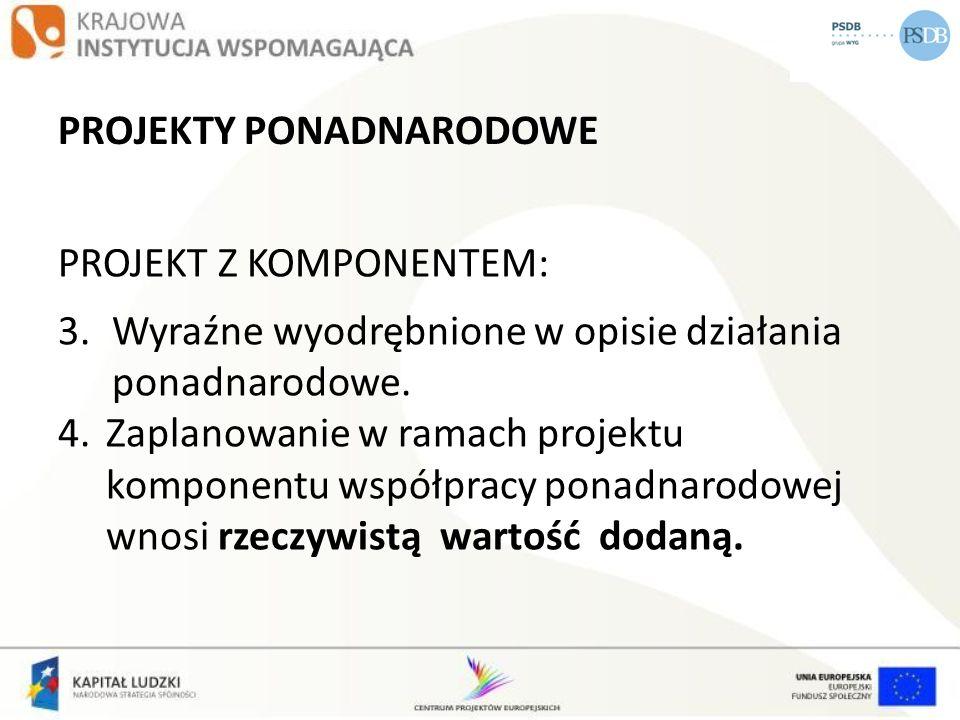 PROJEKTY PONADNARODOWE PROJEKT Z KOMPONENTEM: 3.Wyraźne wyodrębnione w opisie działania ponadnarodowe. 4.Zaplanowanie w ramach projektu komponentu wsp