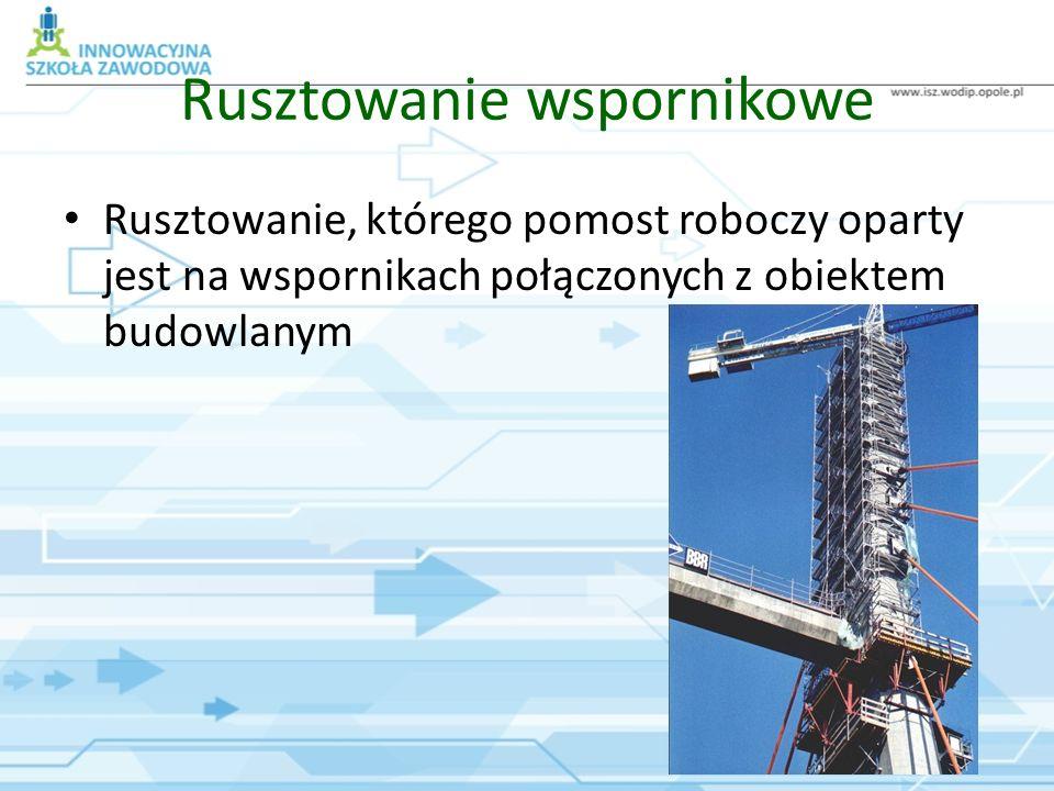 Rusztowanie wspornikowe Rusztowanie, którego pomost roboczy oparty jest na wspornikach połączonych z obiektem budowlanym
