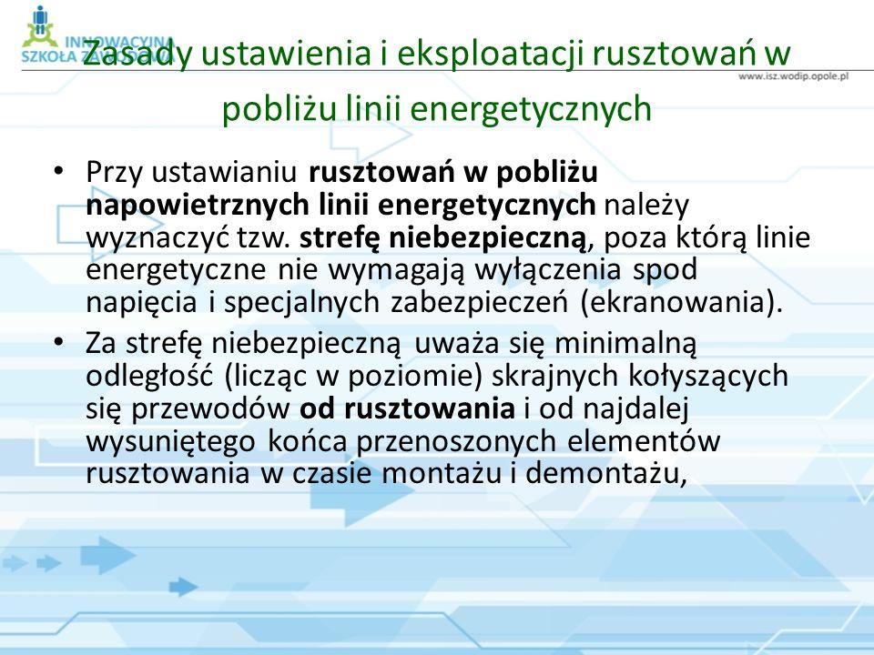Zasady ustawienia i eksploatacji rusztowań w pobliżu linii energetycznych Przy ustawianiu rusztowań w pobliżu napowietrznych linii energetycznych nale