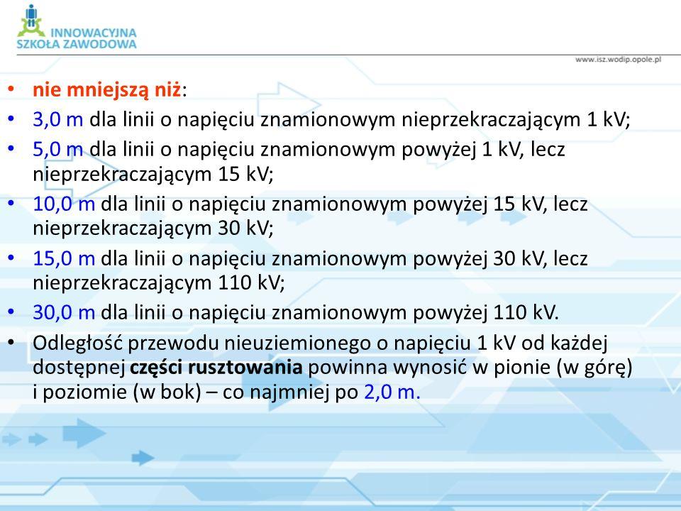 nie mniejszą niż: 3,0 m dla linii o napięciu znamionowym nieprzekraczającym 1 kV; 5,0 m dla linii o napięciu znamionowym powyżej 1 kV, lecz nieprzekra