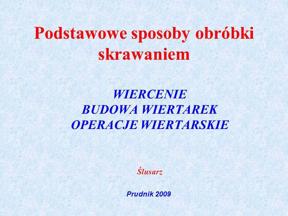 Podstawowe sposoby obróbki skrawaniem WIERCENIE BUDOWA WIERTAREK OPERACJE WIERTARSKIE Ślusarz Prudnik 2009