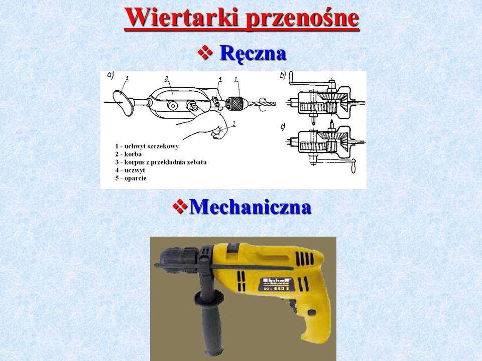 Wiertarki przenośne Ręczna Ręczna Mechaniczna Mechaniczna