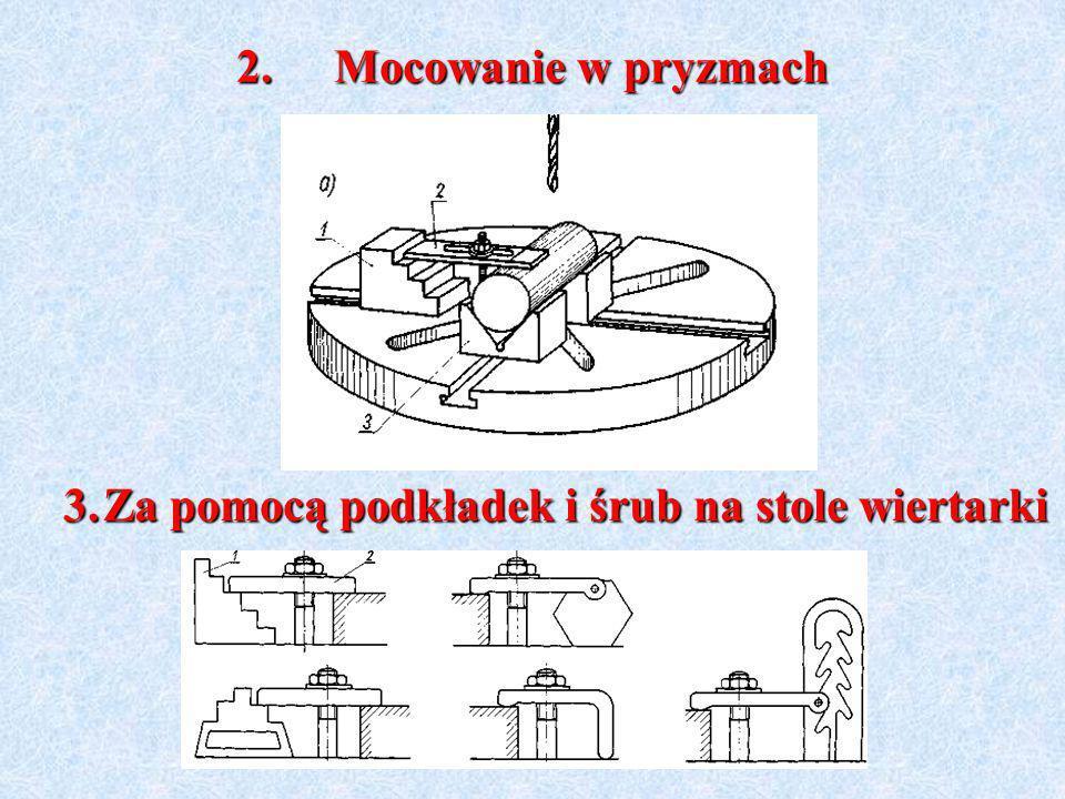 2.Mocowanie w pryzmach 3.Za pomocą podkładek i śrub na stole wiertarki