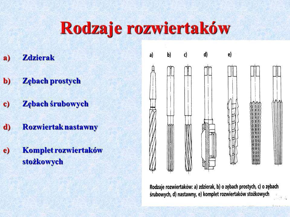 Rodzaje rozwiertaków a)Zdzierak b)Zębach prostych c)Zębach śrubowych d)Rozwiertak nastawny e)Komplet rozwiertaków stożkowych