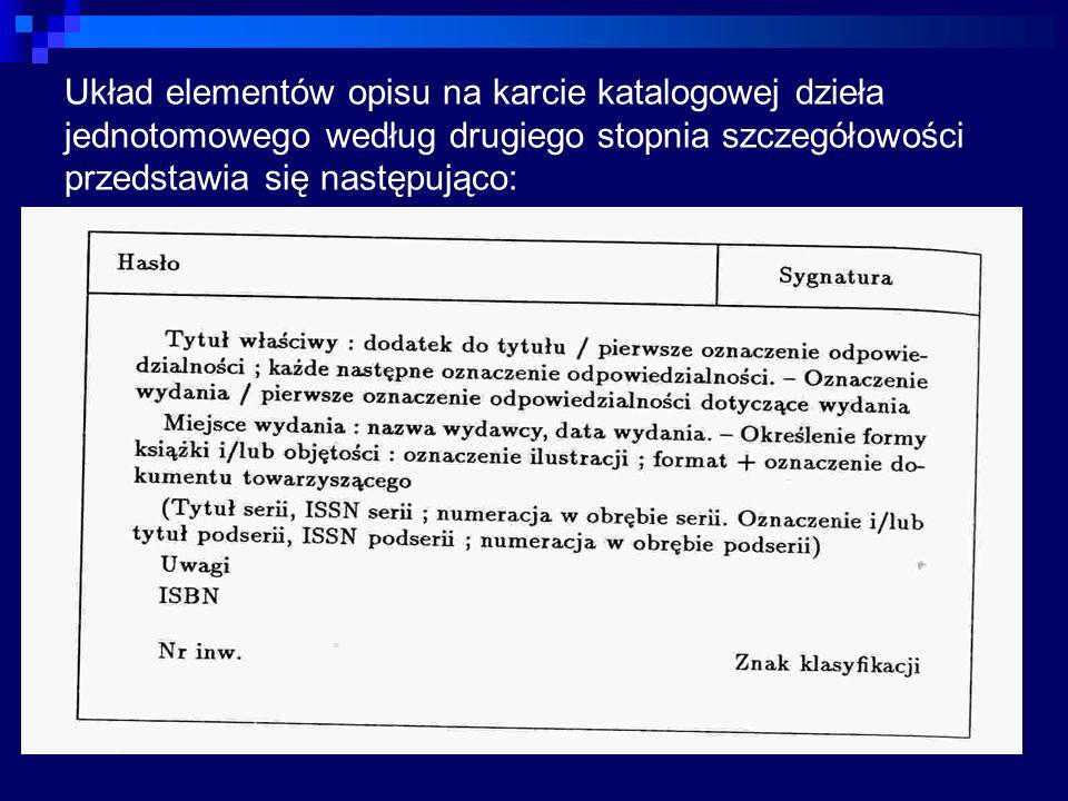 Układ elementów opisu na karcie katalogowej dzieła jednotomowego według drugiego stopnia szczegółowości przedstawia się następująco: