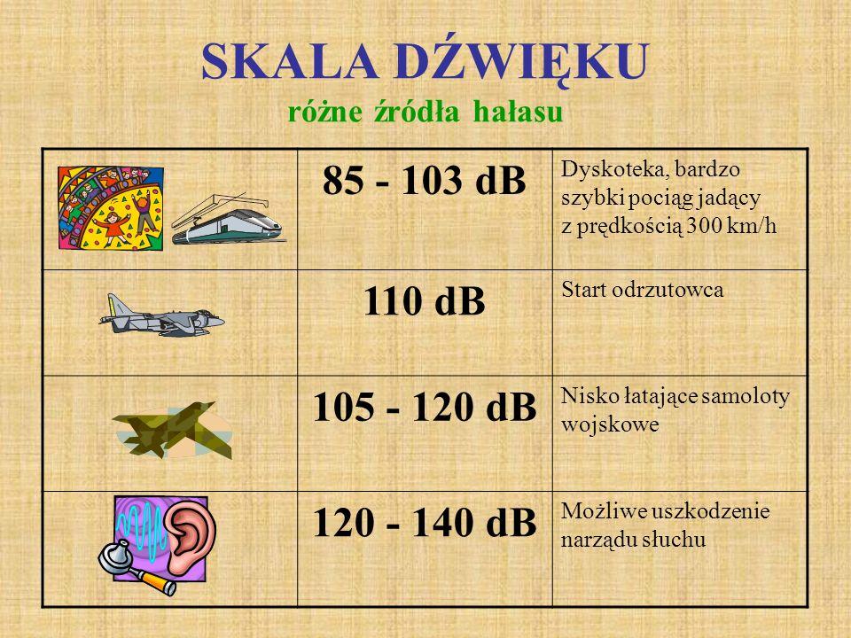 SKALA DŹWIĘKU różne źródła hałasu 60 - 80 dB Samochód osobowy jadący z prędkością 50 km/h 78 - 92 dB Ciężarówka jadąca z prędkością 50 km/h 75 - 100 d