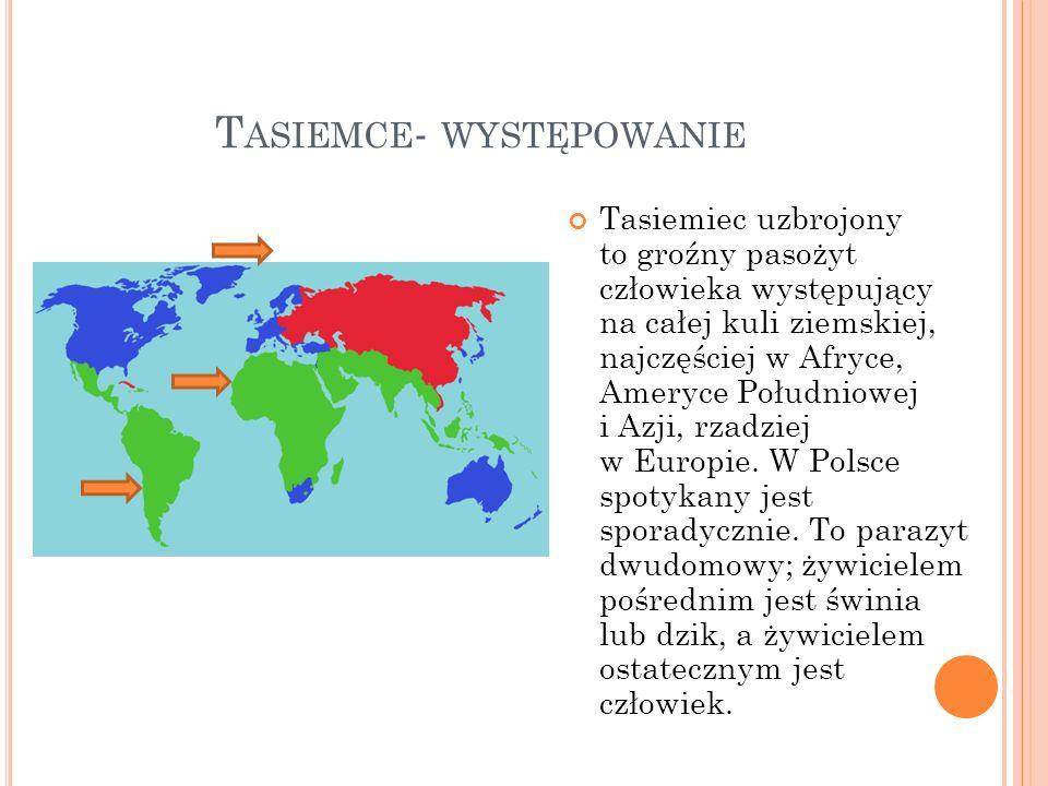 T ASIEMCE - WYSTĘPOWANIE Tasiemiec uzbrojony to groźny pasożyt człowieka występujący na całej kuli ziemskiej, najczęściej w Afryce, Ameryce Południowe