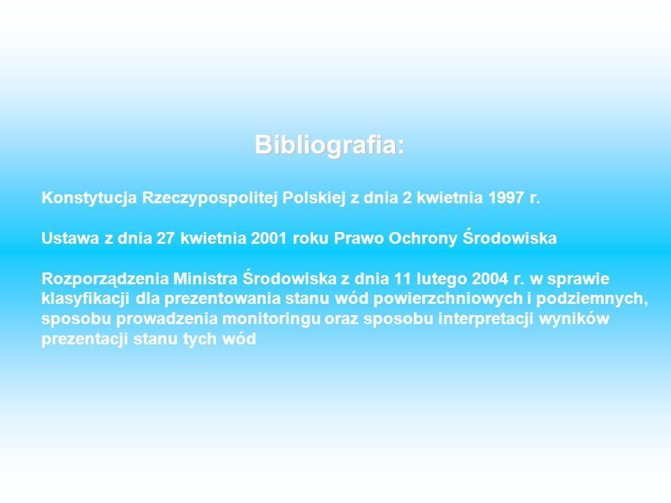 Konstytucja Rzeczypospolitej Polskiej z dnia 2 kwietnia 1997 r. Ustawa z dnia 27 kwietnia 2001 roku Prawo Ochrony Środowiska Rozporządzenia Ministra Ś