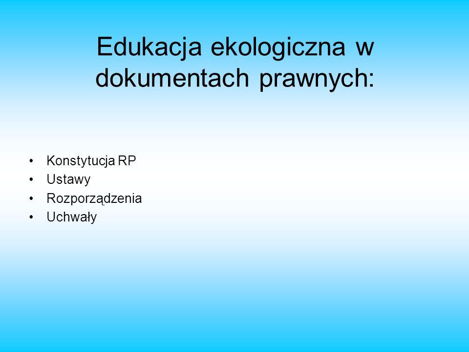 Edukacja ekologiczna w dokumentach prawnych: Konstytucja RP Ustawy Rozporządzenia Uchwały