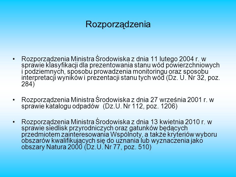 Rozporządzenia Rozporządzenia Ministra Środowiska z dnia 11 lutego 2004 r. w sprawie klasyfikacji dla prezentowania stanu wód powierzchniowych i podzi
