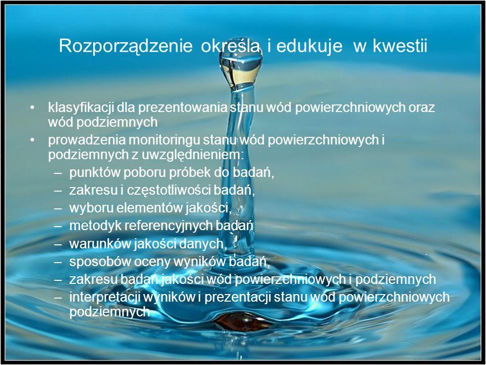 Rozporządzenie określa i edukuje w kwestii klasyfikacji dla prezentowania stanu wód powierzchniowych oraz wód podziemnych prowadzenia monitoringu stan